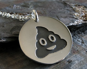 Poop emoji sterling silver pendant necklace. Poo posts. Funny social media gift. Gag pop culture jewelry. Cute little gag gift.