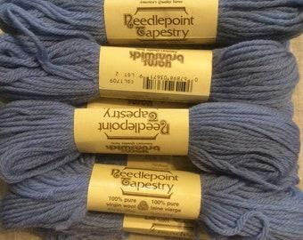 9  - 40 yard Skeins Brunswick Wool Needlepoint Yarn Cornflower Blue