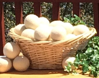 BIG lot Wool Dryer Balls FREE Shipping to USA, Bulk Co-op package Made in America, felted lot of 24 balls,, unscented, Organic and Natural
