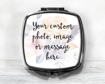 Custom Compact Mirror - Personalized Compact With Your Photo Or Message