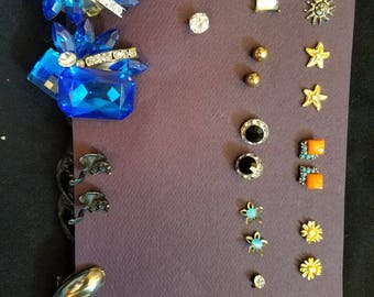 14 pair of beautiful vintage stud earrings