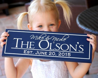 Bridal Shower Gift, Custom Name Sign, Couples Gift, Couples Engagement Gift, Name Sign Wood, Navy Blue Sign, Personalized Anniversary Gift