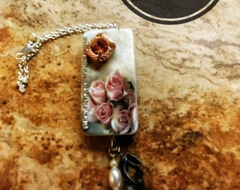 Wine Bottle Charm, Vintage Rose Wine Bottle Charm or Purse Charm, Domino Charm, Accessories