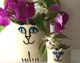 Cat wall pocket mini vase mothers day gift water tight ceramic for small bouquet  or pencil holder hand made white cat whimsical feline