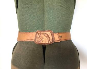 vintage 70s tooled leather belt light brown leather belt horse belt 1970s high waist belt equestrian belt leather belt leather belt buckle