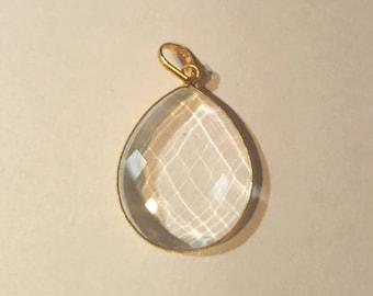 32x26mm Gold vermeil Faceted Quartz Teardrop Pendant