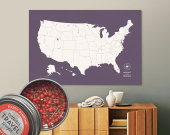 Push Pin USA Map (Dusk) Travel Map Push Pin Map Travel Gift Road Trip Map of the USA on Canvas Personalized Gift For Family Name Sign
