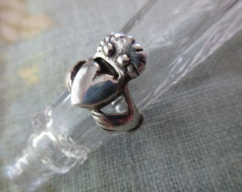 vintage sterling silver ring - Irish, claddagh, size 5