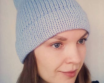 Double Knit Brim Beanie, Sky blue knitted hat, Hipster knitted hat, Hipster hat, Blue women hat, Knit sky blue women hat, Double brim hat