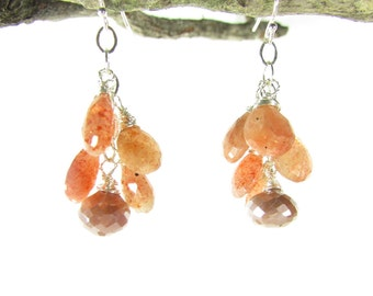 Sunstone Cluster Earrings, Genuine Silverite Earrings, Gemstone Dangles