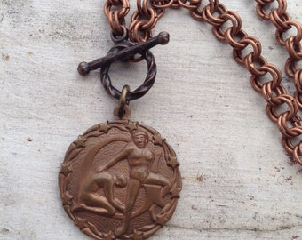 Super SALE Zodiac Vintage Charm Copper Necklace Gemini