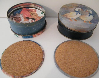 Animal Coasters for Children Party, 2Sets Vintage Unique Novelty Tins  round metal and cork,  geese, puppies, kittens mid century beverage