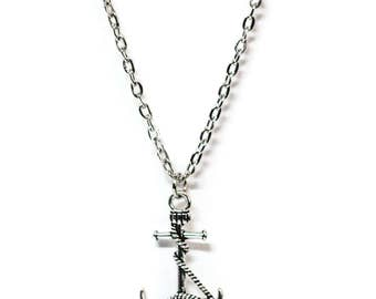 Silver Anchor & Rope Charm Pendant Necklace