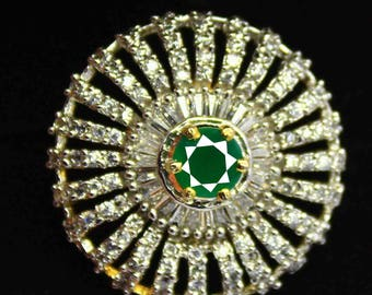 46.55Ct Certified US Size-7 Green Emerald Ring Gems 925 Sterling Silver AU3488