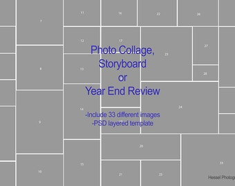 PSD Photo Storyboard Collage, year in review collage, psd template, storyboard template, photoshop templates, year end review
