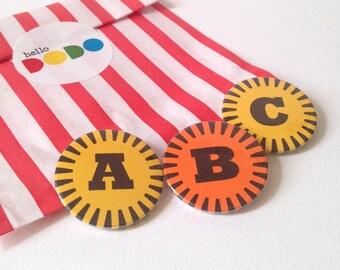 Retro Alphabet badge, ABC badge, Typography badge, Letter Badge, Name badge, Initial badge, alphabet button badge