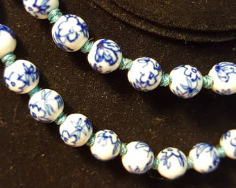 Wedgewood Inspired Ceramic Beaded Necklace With Silver Clasp