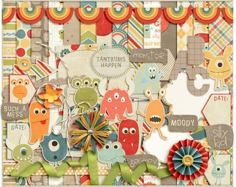 Digital Scrapbooking Kit with Monsters for Kids, Parenting, Everyday - Monstrously Cute INSTANT DOWNLOAD