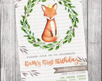 Fox, King, Woodland Invitation