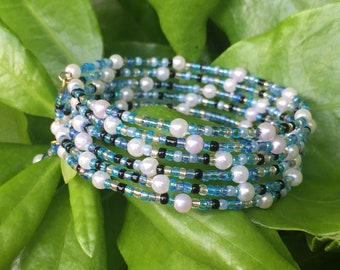 Sea Blues & Pearls Stacked Bracelet  //  Memory Wire Bracelet //  Wooden and Glass Beads  // Coastal // Beach