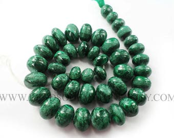 Semiprecious Gemstone Malachite Beads, Rondelle Beads Smooth, (Quality D), 10 to 14 mm, 36 cm, MA-067