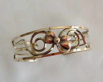 Vintage KREMENTZ Gold Tone Copper Delicate Floral Design Bracelet