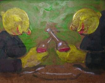 Drunken Lemons - Acrylic Painting on Panel. Old Wooden Frame