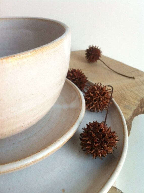 Handmade Stoneware Rustic White Dinnerware 3 Piece Set