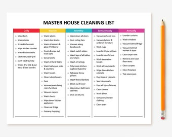weekly and monthly cleaning schedule