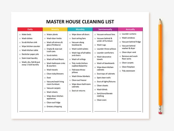 house cleaning checklist printable master house cleaning list 31374