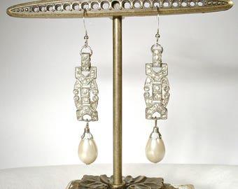 1920s Edwardian Pearl Drop Earrings, Sterling Silver French Paste Rhinestone, Vintage Long Bridal Statement Earrings Gatsby Art Deco
