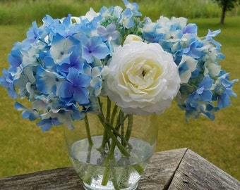 Blue Periwinkle Hydrangeas & White Ranunculus Silk Flower Arrangement in Acrylic Water
