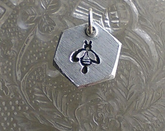 Hexagon Bee Charm -  Hand Stamped Charm - Manchester Bee - Manchester Symbol - Solidarity