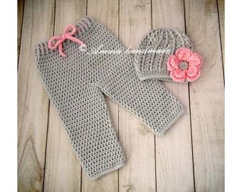 Baby girl set, crochet baby set, pants and hat, baby girl outfit, baby girl take home outfit, newborn girl outfit, baby girl hat, baby pants