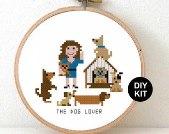 DIY dog lover gift. Dog cross stitch kit. Christmas gift dog owner. Cross stitch kit for beginners. Dog walker gift. Dog trainer gift ideas