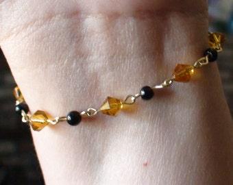 Amber and Black Beaded Bracelet
