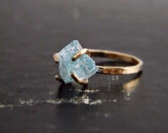 Aquamarine Gold Ring, Aquamarine Engagement Ring, Aquamarine Jewelry, March Birthstone, Rose Gold Ring