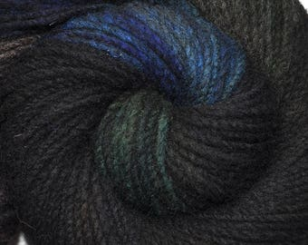 Handspun yarn - Hand painted domestic wool, heavy worsted eight, 180 yards - Nocturnal Rustlings