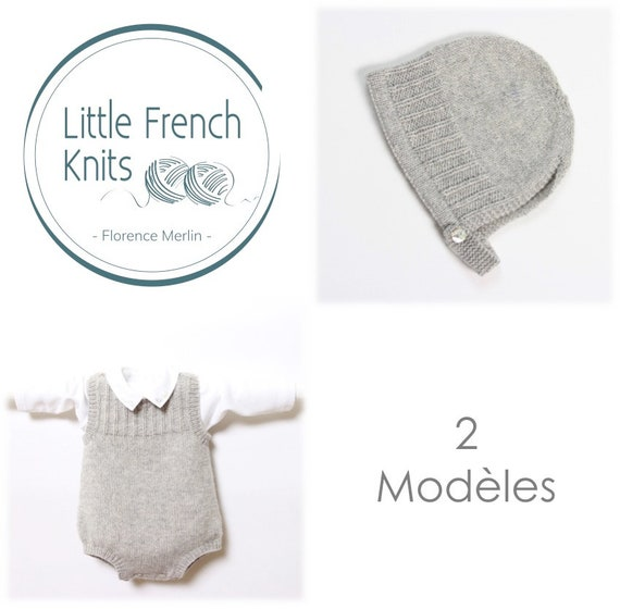 Baby Set / 2 Patterns / Knitting Instructions in French / PDF Instant Download / 4 Sizes : Newborn / 24 months