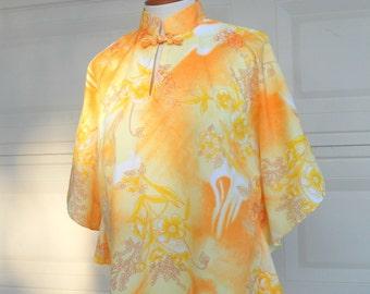 60s Hawaiian Top . Yellow Orange Cape Blouse . BATWING Asian Style . OSFM