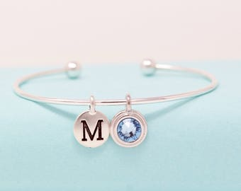 Sterling Silver Bangle - Custom Birthstone Jewelry - Personalized Bracelet - Bracelet For Mom - Gift For Her