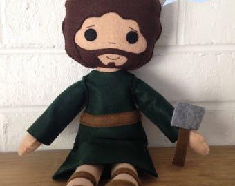 Catholic Doll - Saint Joseph - Wool Felt Blend - Catholic Toy - Felt Doll