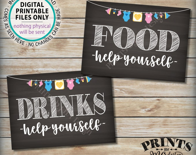"""Food and Drinks Signs, Help Yourself, Buffet, Baby Shower Decorations, Neutral Clothesline, Two PRINTABLE 5x7"""" Chalkboard Style Signs <ID>"""