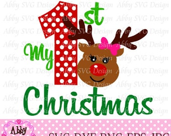 My 1st/First Christmas Girl Reindeer File eps,png,dxf and svg file for the Cutting Machines NO:0010