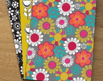 Retro Floral Set of 3 Illustrated A5 notebooks