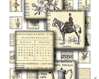 1 x 1 inch square images Printable Download Digital Collage Sheet inchies vintage french dictionary images