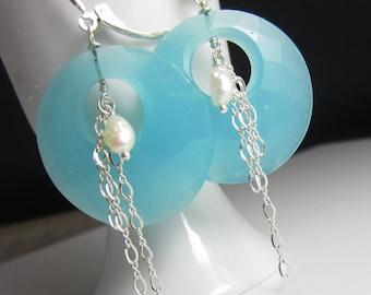 Seafoam Green Hoop Earring in Sterling Silver with Freshwater Pearl