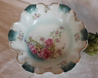 Gorgeous Antique Victorian Porcelain Serving Bowl - Pink Roses, Teal Green Sculpted Rim