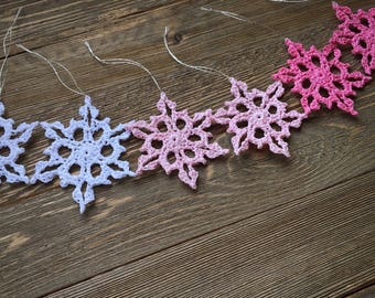 small crochet snowflakes, set of 6, Christmas ornaments, winter