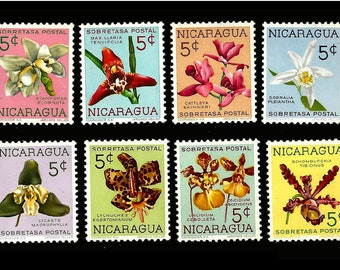 8 Orchid Postage Stamps - 1962 Nicaragua - Artist Trading Cards, Home Decor Projects, Decoupage, Kids Crafts, Collage
